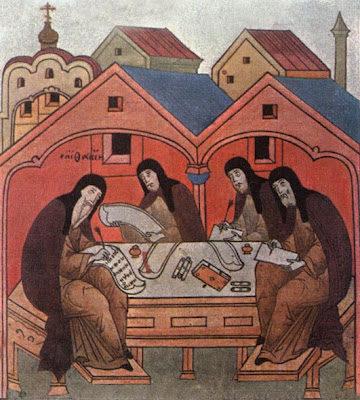 Епифаний Премудрый с учениками пишет житие преподобного Сергия Радонежского
