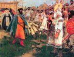 Князь Глеб убивает новгородского волхва. Картина С. В. Иванова