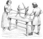 Игра в рыцарей. Миниатюра из рукописи Геррады Ландсбергской, XII в.