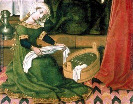 Женщина, моющая бельё. Фрагмент картины «Рождество Богоматери»